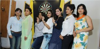 Left To Right: Ushashi Chakraborty, Gargi Roychowdhury, Ananya Chatterjee, Arunima Ghosh, Parijat Chakraborty, Sohini Sarkar & Sampurna Lahiri Inaugurating Darts Premier League.
