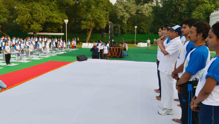 President Pranab Mukherjee - International Yoga Day
