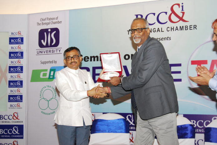 S. K. Panda, IRS, Chief Commissioner of Service Tax, Kolkata Zone being felicitated by T B Chatterjee, Chairperson, Indirect Tax Committee, The Bengal Chamber.