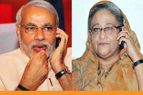 Indian PM Modi Talks with Bangladesh PM Sheikh Hasina