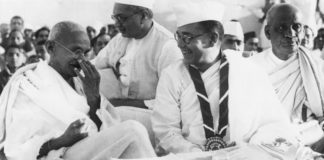 Members of the Indian National Congress (foreground left to right) Mahatma Gandhi (Mohandas Karamchand Gandhi, 1869 - 1948), Subhas Chandra Bose (1897 - 1945) and Vallabhai Patel (1875-1950) during the 51st Indian National Congress.
