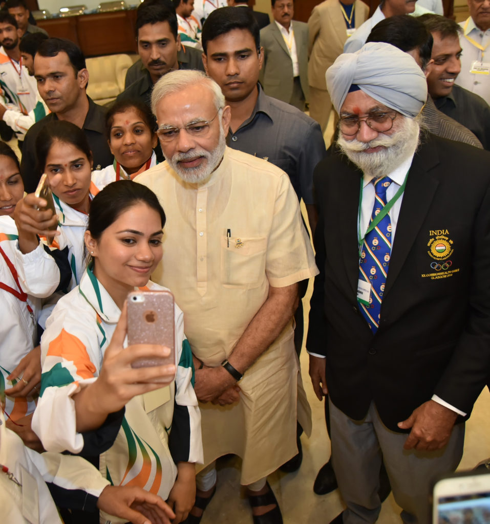The Prime Minister, Shri Narendra Modi interacting with the sportspersons who shall be representing India at forthcoming Rio Olympic Games, in New Delhi on July 04, 2016.