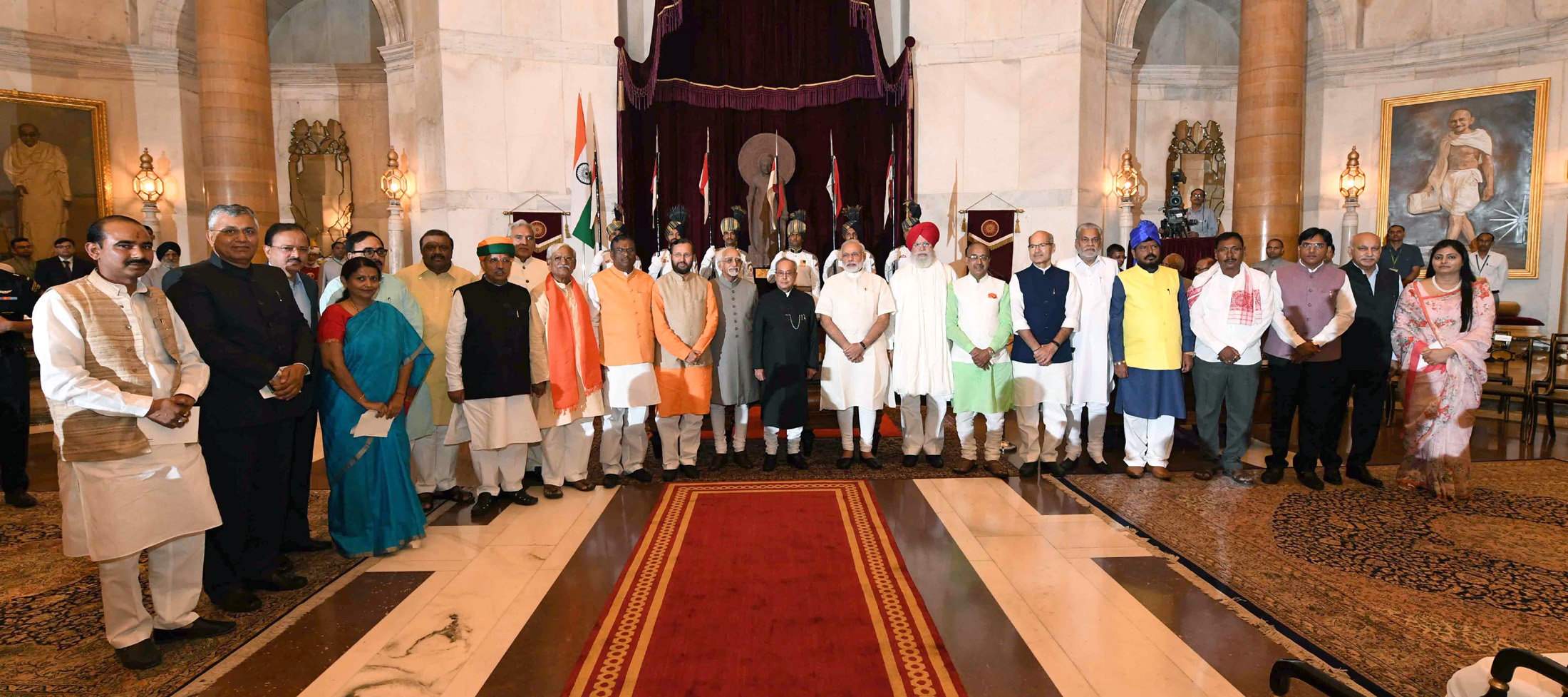 President Pranb Mukherjee - With Council of Ministers of PM Modi