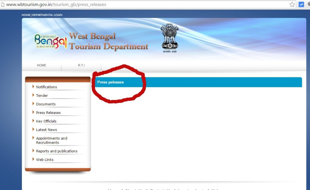 West Bengal Tourism WebSite