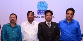 L to R: Dr. Dinesh Bhosale,Past Chairman CLFMA; Madan Mohan Maity, General Secretary of the West Bengal Poultry Federation; Amit Saraogi Chairman CLFMA; Sumit Sureka, State board president, West Bengal & East at CLFMA NS & AGM curtain raiser.