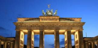 Brandenburg Gate in Berlin, national symbol of today's Germany and its reunification in 1990
