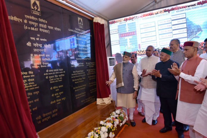 Modi dedicates the SJVN's Rampur Hydro Power Station to the nation