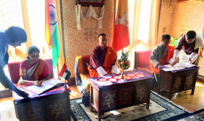 Signing the India-Bhutan Agreement on Trade, Commerce and Transit, in the presence of the Prime Minister of Bhutan