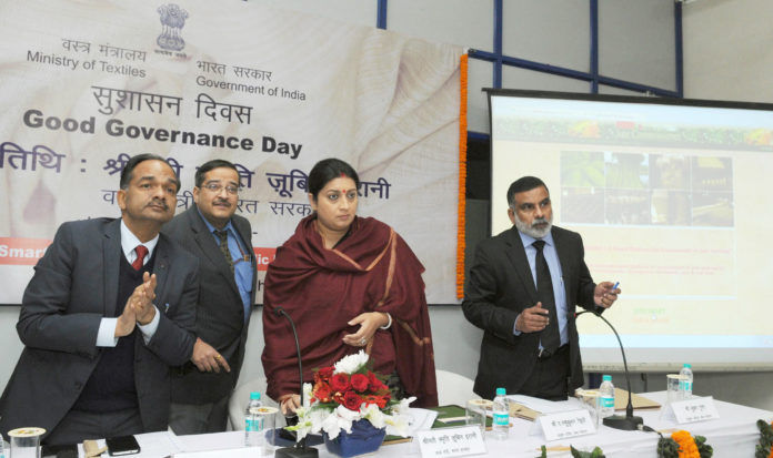The Union Minister for Textiles, Smt. Smriti Irani launching the 3 initiatives, on the occasion of the Good Governance Day, in New Delhi on December 25, 2016.