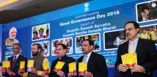 The Union Minister for Health & Family Welfare, Shri J.P. Nadda and the Union Minister for Human Resource Development, Shri Prakash Javadekar launching the 'Swachhta Swasthya Sangam', a joint initiative of the Ministry of Health & Family Welfare and Ministry of Drinking Water & Sanitation, at a function to commemorate Good Governance Day, 2016, in New Delhi on December 29, 2016. The Secretary (Health and Family Welfare), Shri C.K. Mishra, the Secretary, Ministry of Drinking Water and Sanitation, Shri Parameswaran Iyer are also seen.