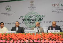 The Minister of State for Development of North Eastern Region (I/C), Prime Minister's Office, Personnel, Public Grievances & Pensions, Atomic Energy and Space, Dr. Jitendra Singh at the inaugural session of the International Symposium on Drafting a National Policy on Medicinal and Aromatic Plants of India, in New Delhi on January 19, 2017. The Minister of State for Agriculture & Farmers Welfare and Panchayati Raj, Shri Parshottam Rupala and the Secretary of AYUSH, Shri Ajit M. Sharan are also seen.