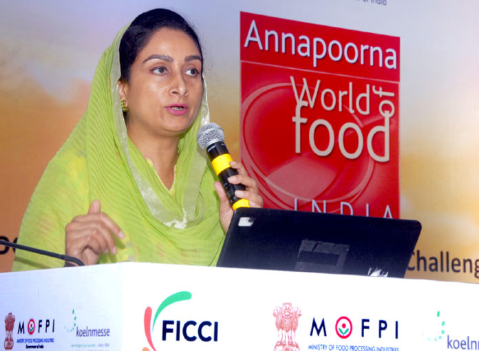 "The Union Minister for Food Processing Industries, Smt. Harsimrat Kaur Badal addressing at the ""Annapoorna World Food"