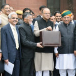 The Union Minister for Finance and Corporate Affairs, Shri Arun Jaitley departs from North Block to Rashtrapati Bhavan and Parliament House, along with the Minister of State for Finance and Corporate Affairs, Shri Arjun Ram Meghwal, the Minister of State for Finance, Shri Santosh Kumar Gangwar and the senior officials to present the General Budget 2017-18, in New Delhi on February 01, 2017.