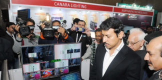 """The Minister of State for Information & Broadcasting, Col. Rajyavardhan Singh Rathore visiting the exhibition, at the """"BES Expo 2017"""" - 23rd International Conference & Exhibition on Terrestrial& Satellite Broadcasting, organised by the Broadcast Engineering Society (India), in Delhi on February 02, 2017."""
