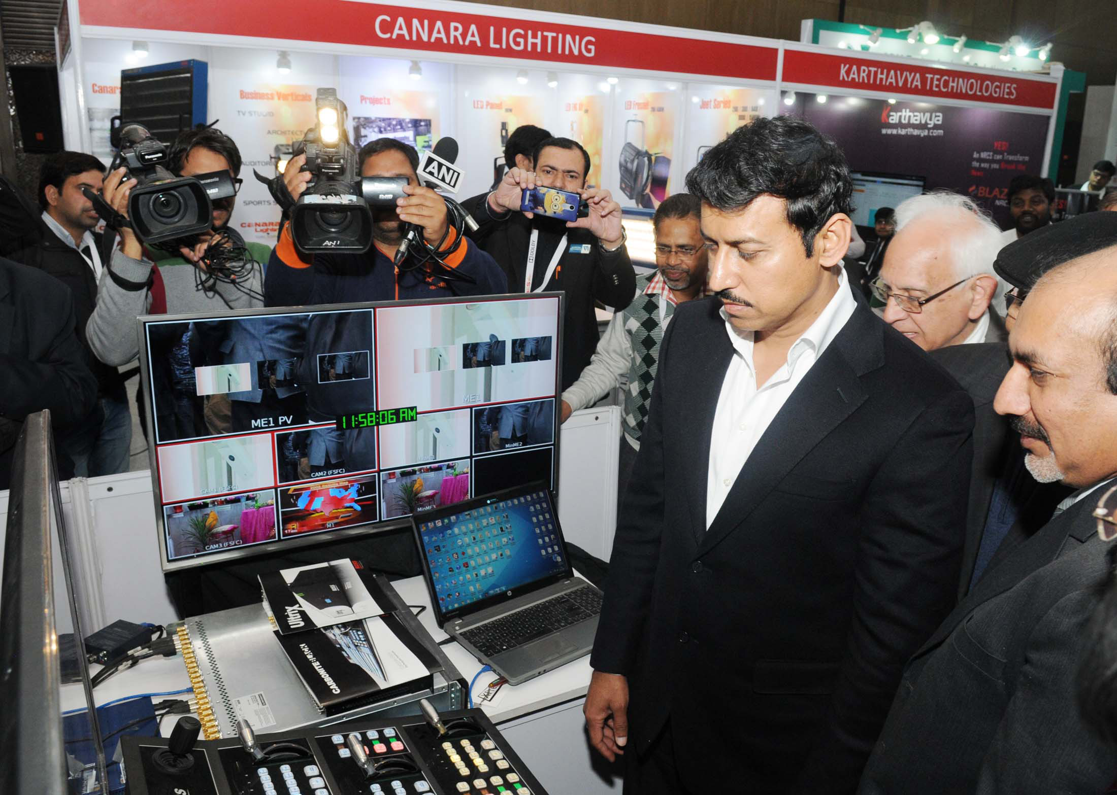 "The Minister of State for Information & Broadcasting, Col. Rajyavardhan Singh Rathore visiting the exhibition, at the ""BES Expo 2017"" - 23rd International Conference & Exhibition on Terrestrial& Satellite Broadcasting, organised by the Broadcast Engineering Society (India), in Delhi on February 02, 2017."