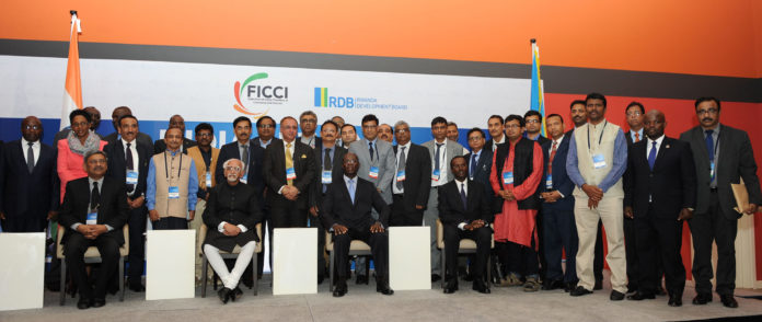 The Vice President, Shri M. Hamid Ansari with the Business Delegates at the India-Rwanda Business Forum, in Kigali, Rwanda on February 20, 2017. The Prime Minister of Rwanda, Mr. Anastase Murekezi is also seen.