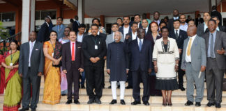 Vice President Shri M. Hamid Ansari with the delegates at the India-Uganda Business Meeting, in Kampala
