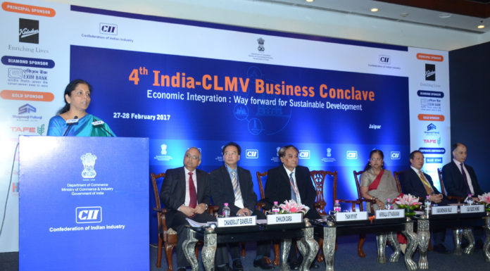 The Minister of State for Commerce & Industry (Independent Charge), Smt. Nirmala Sitharaman addressing at the 4th India-CLMV Business Conclave, in Jaipur on February 27, 2017.
