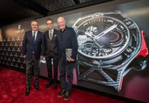 Ricardo GUADALUPE (Hublot CEO), Flavio MANZONI (Ferrari Head of Design), Jean-Claude BIVER (Hublot Chairman and President of LVMH Watch Division) unveil the Hublot Techframe timepiece