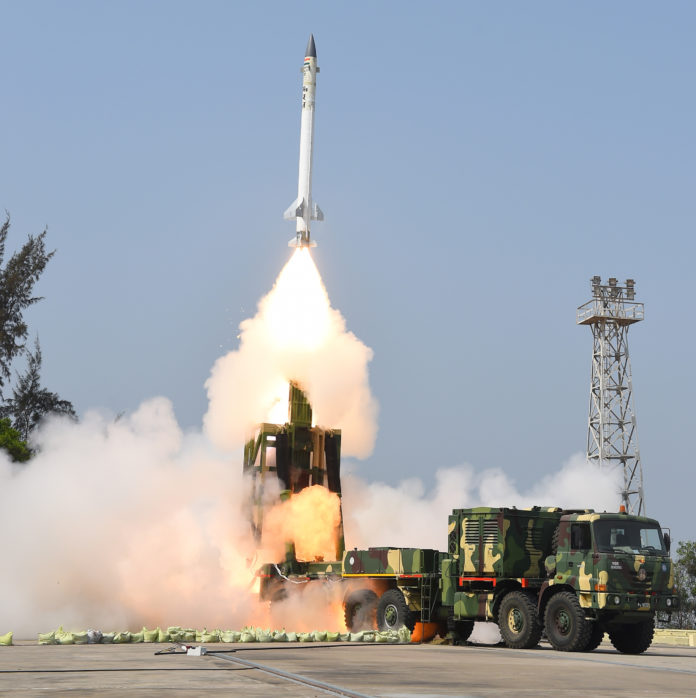 Take off view of the Advanced Area Defence Endo-Atmospheric Interceptor Missile of the DRDO successfully test fired, at Abdul Kalam Island, Odisha, on March 01, 2017.