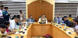 The Union Minister for Health & Family Welfare, Shri J.P. Nadda briefing the media on National Health Policy, 2017, in New Delhi on March 16, 2017. The Secretary (Health and Family Welfare), Shri C.K. Mishra is also seen.