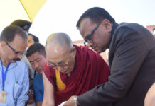 His Holiness the Dalai Lama planting a sapling of the Bodhi Tree at the Nava Nalanda Mahavihara University campus, at Rajgir, in Nalanda district of Bihar on March 18, 2017. The Vice-Chancellor of the Nava Nalanda Mahavihara University, Shri M.L. Srivastava is also seen.