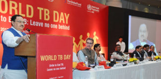The Union Minister for Health & Family Welfare, Shri J.P. Nadda addressing the gathering, on the occasion of the World TB Day, in New Delhi on March 24, 2017. The Ministers of State for Health & Family Welfare, Shri Faggan Singh Kulaste and Smt. Anupriya Patel, the Secretary (Health and Family Welfare), Shri C.K. Mishra and other dignitaries are also seen.