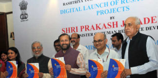 "The Union Minister for Human Resource Development, Shri Prakash Javadekar releasing the Booklet ""Digital Launch of Projects; Rashtriya Uchchatar Shiksha Abhiyan (RUSA)"", at the launch of the unique portal and mobile app of Rashtriya Uchchatar Shiksha Abhiyan (RUSA), a body under the aegis of the Ministry of Human Resource Development, in New Delhi on April 17, 2017. The Secretary, Department of Higher Education, Shri Kewal Kumar Sharma and other dignitaries are also seen."