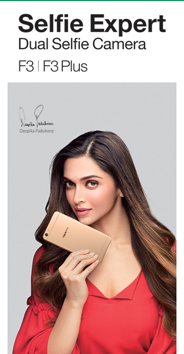 Deepika Padukone with OPPO F3 Plus