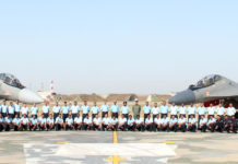 """The Air Officer Commanding-in- Chief Western Air Command, Air Marshal C. Hari Kumar with the Squadron personnel of """"THE VALIANTS"""", during the induction ceremony of SU 30 MKI, at Air Force Station, Halwara (Punjab) on April 24, 2017."""
