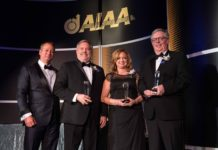 AIAA President Jim Maser presented the agency's International Cooperation Award to John Vassberg, Boeing Technical Fellow and technical lead, BCA Advanced Concepts/Design Center; Melissa Rivers, research aerospace engineer, Research Directorate at NASA Langley; and Richard Wahls, strategic technical advisor, Advanced Air Vehicles Program under NASA's Aeronautics Research Mission Directorate. Credits: AIAA