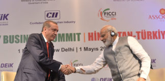 The Prime Minister, Shri Narendra Modi and the President of the Republic of Turkey, Mr. Recep Tayyip Erdogan attending India-Turkey Business Forum, in New Delhi on May 01, 2017.