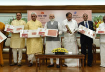 The Prime Minister, Shri Narendra Modi releasing the Ramanujacharya Stamp, in New Delhi on May 01, 2017. The Prime Minister, Shri Narendra Modi is also seen. The Governor of Telangana and Andhra Pradesh, Shri E.S.L. Narasimhan, the Union Minister for Urban Development, Housing & Urban Poverty Alleviation and Information & Broadcasting, Shri M. Venkaiah Naidu, the Union Minister for Chemicals & Fertilizers and Parliamentary Affairs, Shri Ananth Kumar, the Minister of State for Communications (Independent Charge) and Railways, Shri Manoj Sinha, the Minister of State for Commerce & Industry (Independent Charge), Smt. Nirmala Sitharaman and the Minister of State for Road Transport & Highways and Shipping, Shri P. Radhakrishnan are also seen.