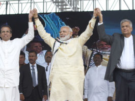 The Prime Minister, Shri Narendra Modi at the Indian Origin Tamil Community function, at Norwood Grounds, Dickoya, in Sri Lanka on May 12, 2017. The President of the Democratic Socialist Republic of Sri Lanka, Mr. Maithripala Sirisena and the Prime Minister of the Democratic Socialist Republic of Sri Lanka, Mr. Ranil Wickremesinghe are also seen.
