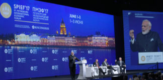 The Prime Minister, Shri Narendra Modi addressing the plenary session of St. Petersburg International Economic Forum (SPIEF2017), in St. Petersburg, Russia on June 02, 2017. The President of Russian Federation, Mr. Vladimir Putin and other dignitaries are also seen.