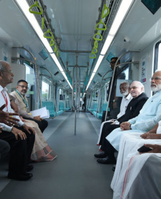 The Prime Minister, Shri Narendra Modi and other dignitaries take a ride on Kochi Metro, in Kerala on June 17, 2017.