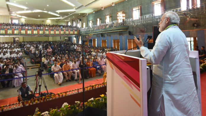 The Prime Minister, Shri Narendra Modi addressing at the launch of the PN Panicker Reading Day - Reading Month Celebration, in Kerala on June 17, 2017.