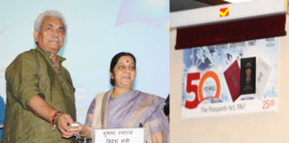 The Union Minister for External Affairs, Smt. Sushma Swaraj alongwith the Minister of State for Communications (Independent Charge) and Railways, Shri Manoj Sinha releasing the commemorative postage stamp to mark the completion of 50 years of the Passport Act, in New Delhi on June 23, 2017.