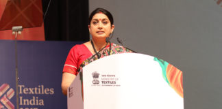 The Union Minister for Textiles, Smt. Smriti Irani addressing at the inauguration ceremony of the Textiles India 2017, in Gandhinagar, Gujarat on June 30, 2017.