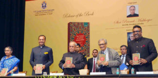 "The President, Shri Pranab Mukherjee receiving the first copy of the book ""The Future of Indian Universities: Comparative and International Perspectives"" at Rashtrapati Bhavan, in New Delhi on July 17, 2017."