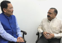 The Chief Minister of Sikkim, Shri Pawan Kumar Chamling calling on the Minister of State for Development of North Eastern Region (I/C), Prime Minister's Office, Personnel, Public Grievances & Pensions, Atomic Energy and Space, Dr. Jitendra Singh, in New Delhi on July 26, 2017.