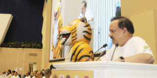 The Union Minister for Science & Technology, Earth Sciences and Environment, Forest & Climate Change, Dr. Harsh Vardhan addressing at the celebration of the Global Tiger Day, in New Delhi on July 29, 2017.