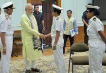 The Prime Minister, Shri Narendra Modi meeting Lt. Commander Vartika Joshi of Navika Sagar Parikrama expedition, in New Delhi on August 16, 2017. The Chief of Naval Staff, Admiral Sunil Lanba is also seen.
