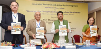 "The Minister of State for Petroleum and Natural Gas (Independent Charge), Shri Dharmendra Pradhan releasing the report on ""Converging the Divergence between Diesel and Petrol Prices"" at a Workshop, in New Delhi on August 30, 2017."