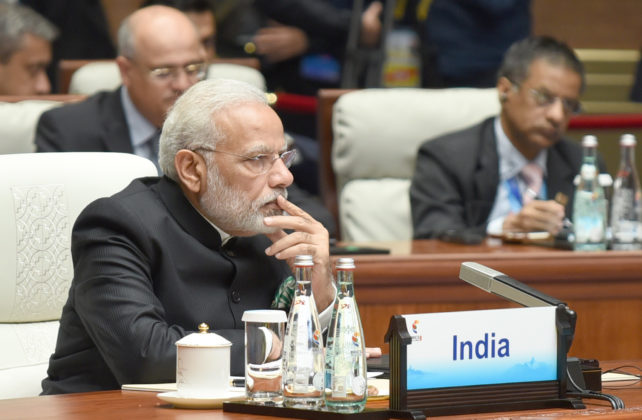 The Prime Minister, Shri Narendra Modi at the Plenary Session of the 9th BRICS Summit, in Xiamen, China on September 04, 2017.