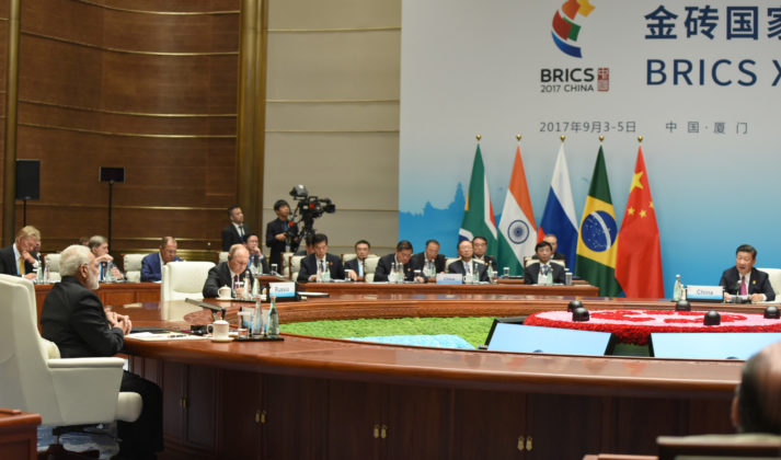 The Prime Minister, Shri Narendra Modi and other BRICS leaders, at the Plenary Session of the 9th BRICS Summit, in Xiamen, China on September 04, 2017.