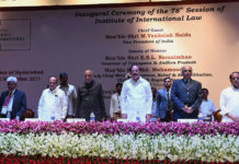 The Vice President, Shri M. Venkaiah Naidu at an event to inaugurate the 78th Session of Institute of International Law, at NALSAR University of Law, in Hyderabad on September 03, 2017. The Governor of Telangana, Shri E.S.L. Narasimhan, the Acting Chief Justice of High Court of Judicature at Hyderabad, Justice Ramesh Ranganathan, the Deputy Chief Minister of Telangana, Shri Mohammad Mahmood Ali and other dignitaries are also seen.