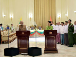 The Prime Minister, Shri Narendra Modi delivering his statement during the joint media briefing with the State Counsellor of Myanmar, Ms. Aung San Suu Kyi, at Presidential Palace, in Naypyidaw, Myanmar on September 06, 2017.