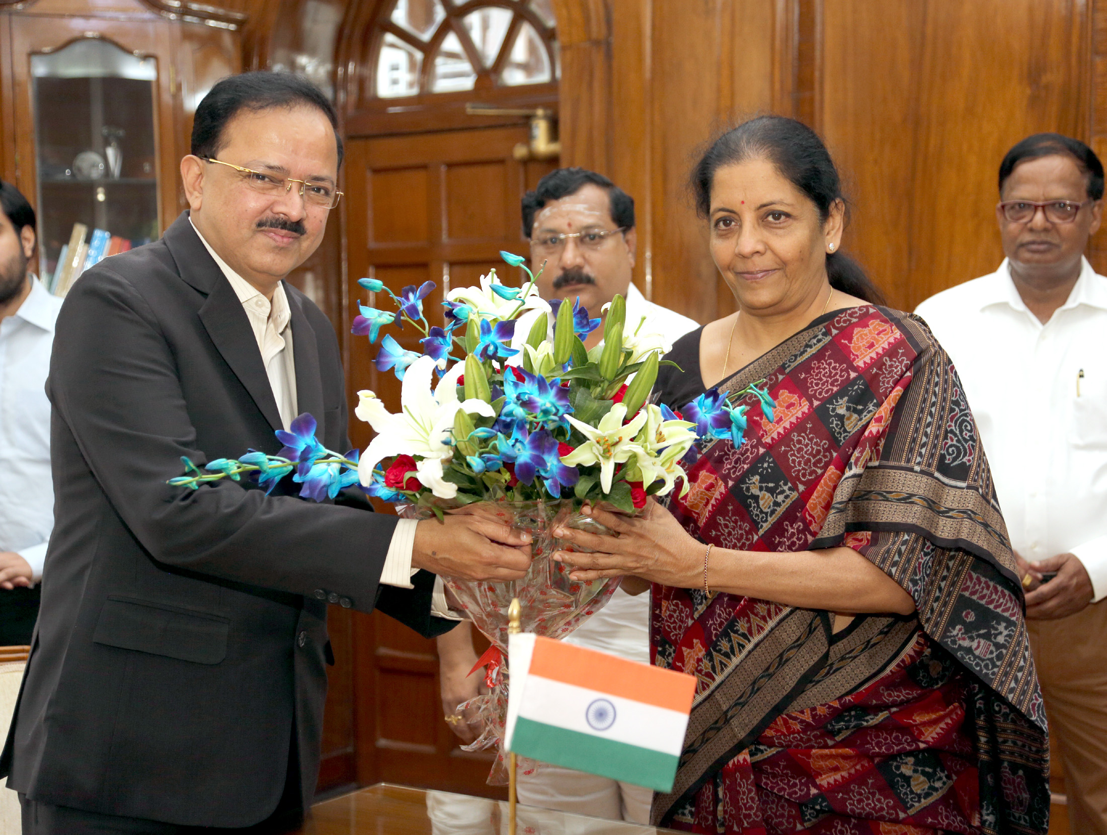 Smt. Nirmala Sitharaman being greeted by the Minister of State for Defence, Dr. Subhash Ramrao Bhamre after taking charge as the Union Minister for Defence, in New Delhi on September 07, 2017.