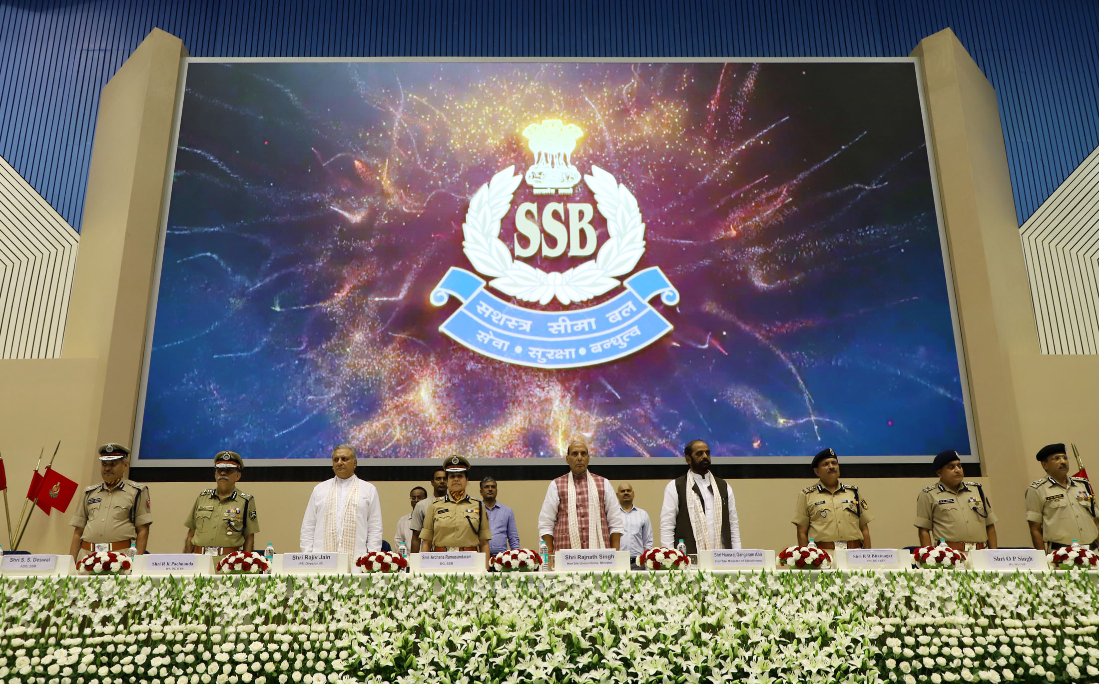 The Union Home Minister, Shri Rajnath Singh during a function to operationalise the New Intelligence Set-up of the Sashastra Seema Bal (SSB), in New Delhi on September 18, 2017. The Minister of State for Home Affairs, Shri Hansraj Gangaram Ahir, the Director, Intelligence Bureau, Shri Rajiv Jain, the DG, SBB, Smt. Archana Ramasundaram and DGs of other CAPFs are also seen.